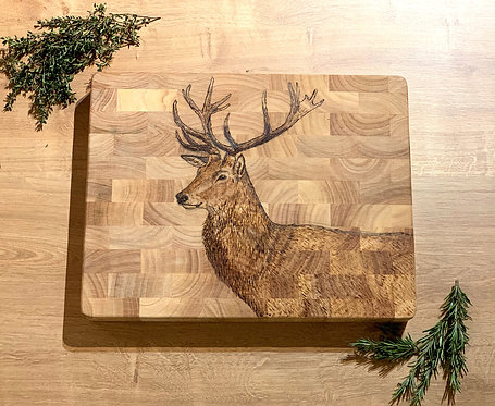 Hand Engraved Stag Butchers Block