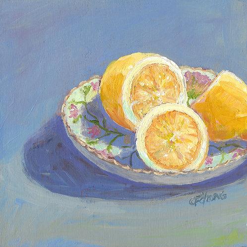 """Lemon Bowl, 6"""" x 6"""" x 7/8"""" Acrylic on Wood Cradle"""