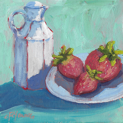 Strawberries & Cream, 6 x 6 x 7/8 Acrylic on Wood Cradle
