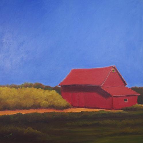 Red Hay Barn, 2012, 24 x 24 x 2 Acrylic on Cradled Gesso Board