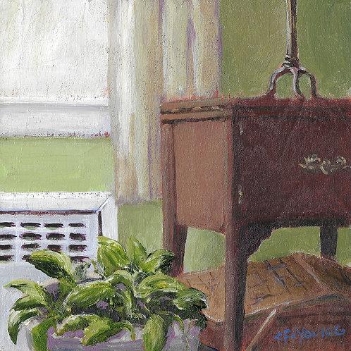 "Granny's Bedside Table, 6"" x 6"" x 7/8"" Acrylic on Wood Cradle"