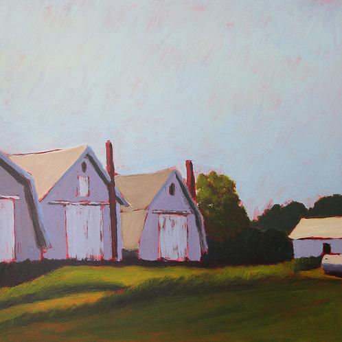 Baiting Hollow Barns, 2012  12 x 12 x 2 Acrylic on Cradled Gesso Board