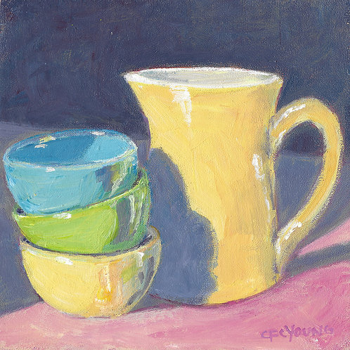 "Bowls and Creamer, 6"" x 6"" x 7/8"" Acrylic on Wood Cradle"