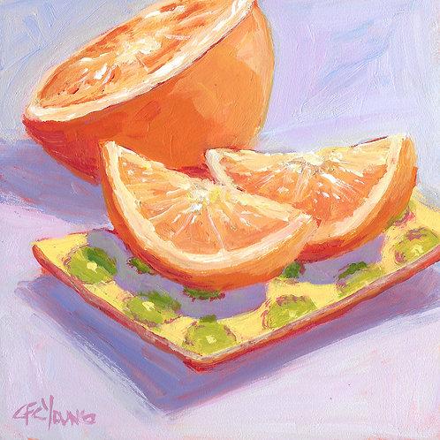 """Winter Citrus, 6"""" x 6"""" x 7/8"""" Acrylic on Wood Cradle"""