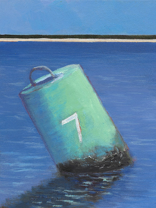 Green Buoy #7, 6 x 6 x 2 Acrylic on Wood Cradle