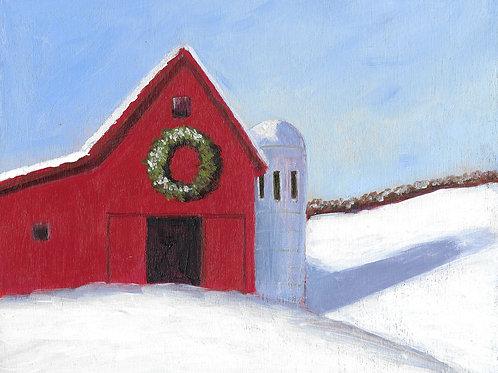 Snow Barn,  8 x 10 x 7/8 Acrylic on Wood Cradle