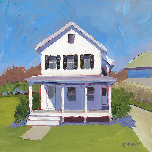 "Nana's House, 8"" x 8"" x 7/8"" Acrylic on Wood Cradle"