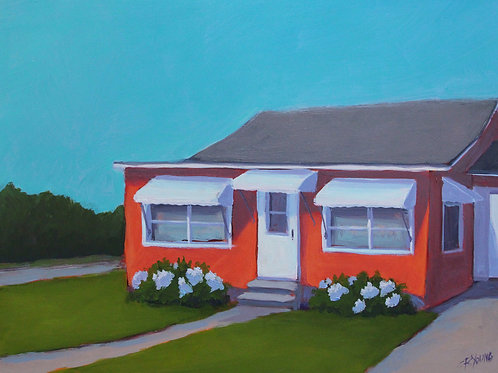 Pumpkin Cottage  12 x 16 x 2 Acrylic on Cradled Gesso Board