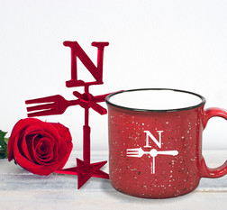 North Fork Red Ornament Stand and Campfire Mug