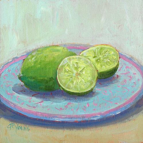 """Limes, 6"""" x 6"""" x 7/8"""" Acrylic on Wood Cradle"""