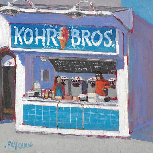 "Kohr Bros, 8"" x 8"" x 7/8"" Acrylic on Wood Cradle"