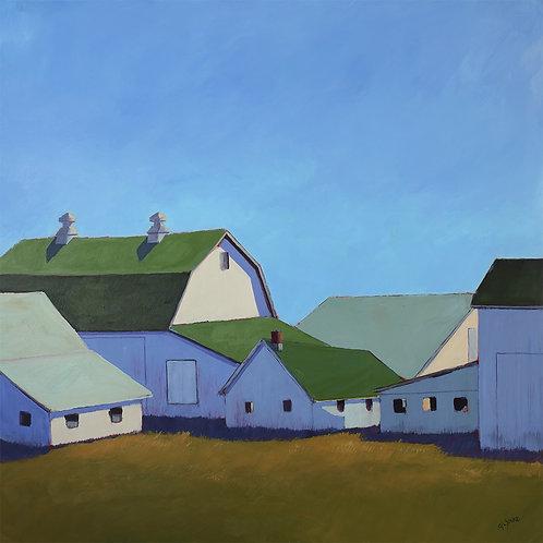 Barn Cluster, 2021, 36 x 36 x 2 Acrylic