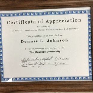 Certificate of Appreciation awarded to Dennis L. Johnson