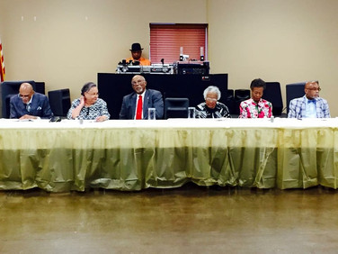 Guests at the Head Banquet Table (l-R). Rev. Joe Walker, Mr. & Mrs. Walter Brown, Ms. Thelma Brown, Mr. & Mrs. Ernest Holly