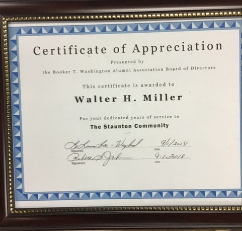 Certificate of Appreciation awarded to Walter H. Miller