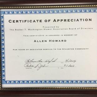 Certificate of Appreciation awarded In Memory of Allen Howard