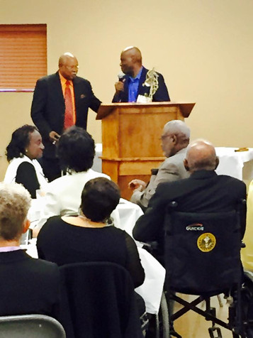 Continued, Elder Alphonso Hamilton donating his trophy from class of 1966 to the BTW Library. Walter G. Brown accepting the Trophy for the LIbrary.