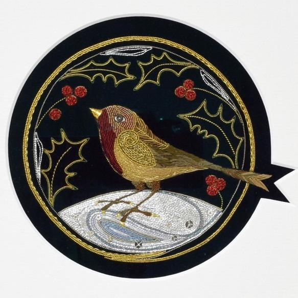 Gold work Christmas Robin