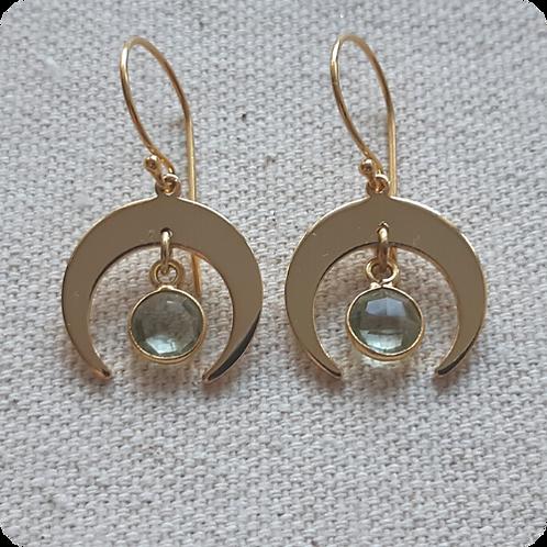 Prasiolite (Green Amethyst) Moon Earrings - Gold