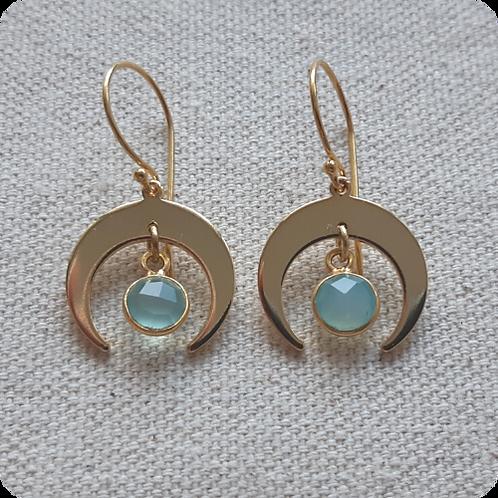 Blue Chalcedony Moon Earrings - Gold
