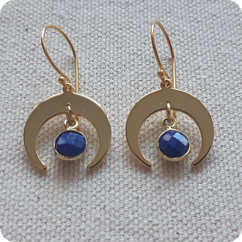 Lapis Lazuli Moon Earrings - Gold