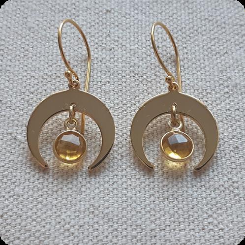 Citrine Moon Earrings - Gold