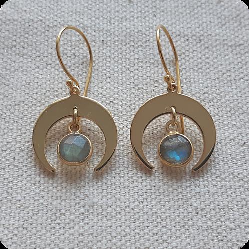 Labradorite Moon Earrings - Gold