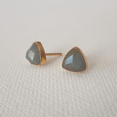 Aquamarine - Triangle studs