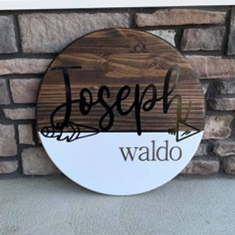 Round Nursery Sign with Paint