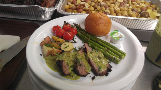 gourmet meal - gourmet vegetables, tri tip  with chimichurri sauce