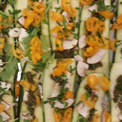 The beginning of the vegan zucchini pizz