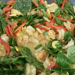 Coconut curried shrimp with peppers and