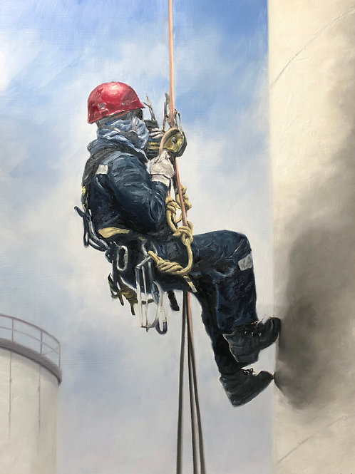 """Work at Height - Oil on Canvas 36"""" x 48"""""""
