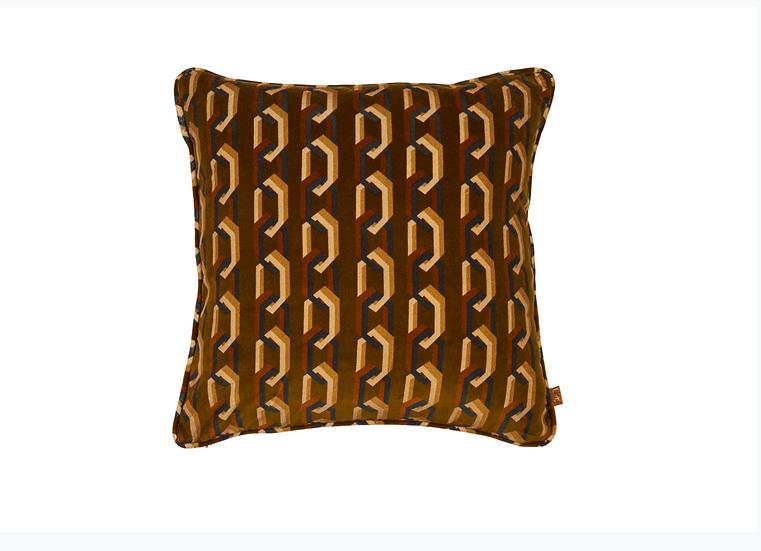 Square Velvet Cushion - Chain of Fools in Ginger