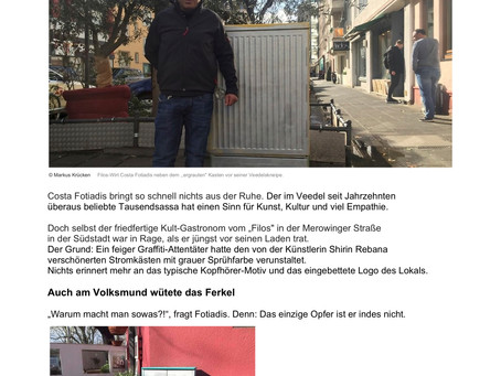 """EXPRESS: """"Südstadt-Wirte wütend: Wer ist das graue Graffiti-Ferkel?"""" (Artikel)"""