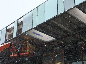 Construction continues at Carver Gym through the snow