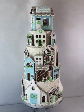 Gingerbread christmas town cake design by Hello Sweetie Confectionary