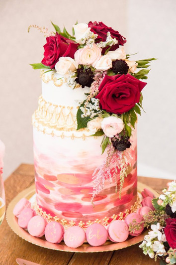 Macaroon and floral Cake design by Hello Sweetie Confectionary