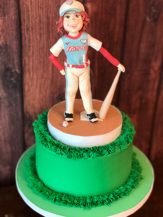 Baseball/baseball player cake design by Hello Sweetie Confectionary