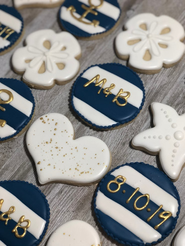 Beach theme wedding cookies by Hello Sweetie Confectionary