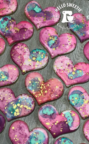 colorful heart cookies by Hello Sweetie Confectionary
