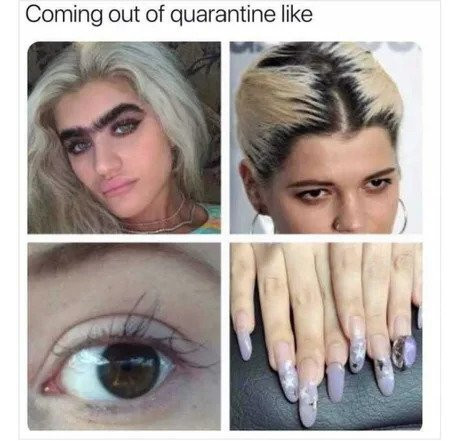 A meme with four images of women with roots, overgrown brows, sparse lashes, and ratchet nails