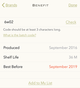 Screenshot of the Benefit batch number checker