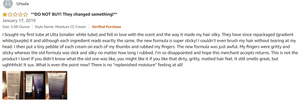 Screenshot of a 1-star Amazon review of a possibly counterfeit beauty product