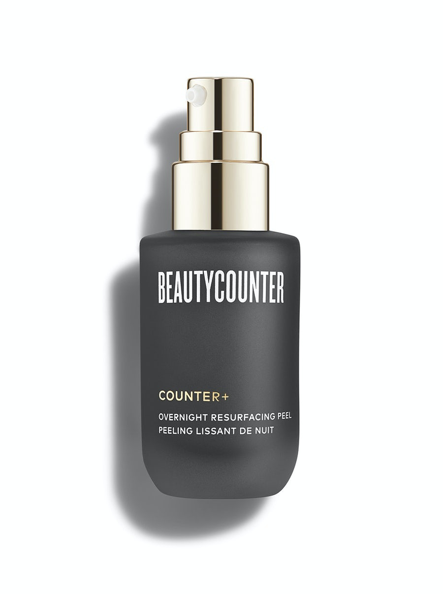 A small black bottle of Beautycounter resurfacing peel with a chrome colored pump