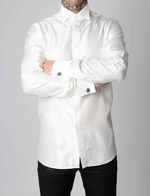 Giuseppe Baldassarri feines Baumwolle / Viskose Smoking Hemd (Ivory)