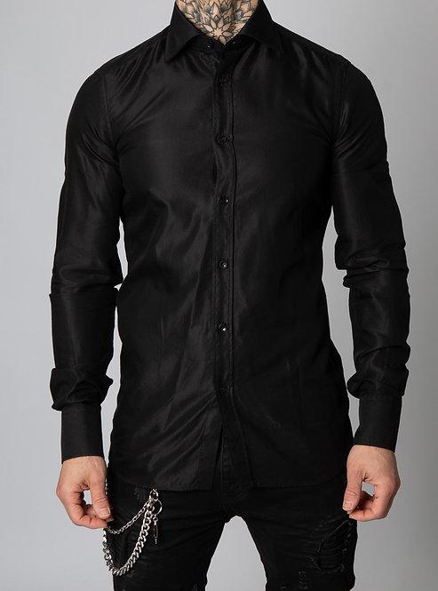 Giuseppe Baldassarri feines Baumwolle / Viskose Hemd (schwarz)