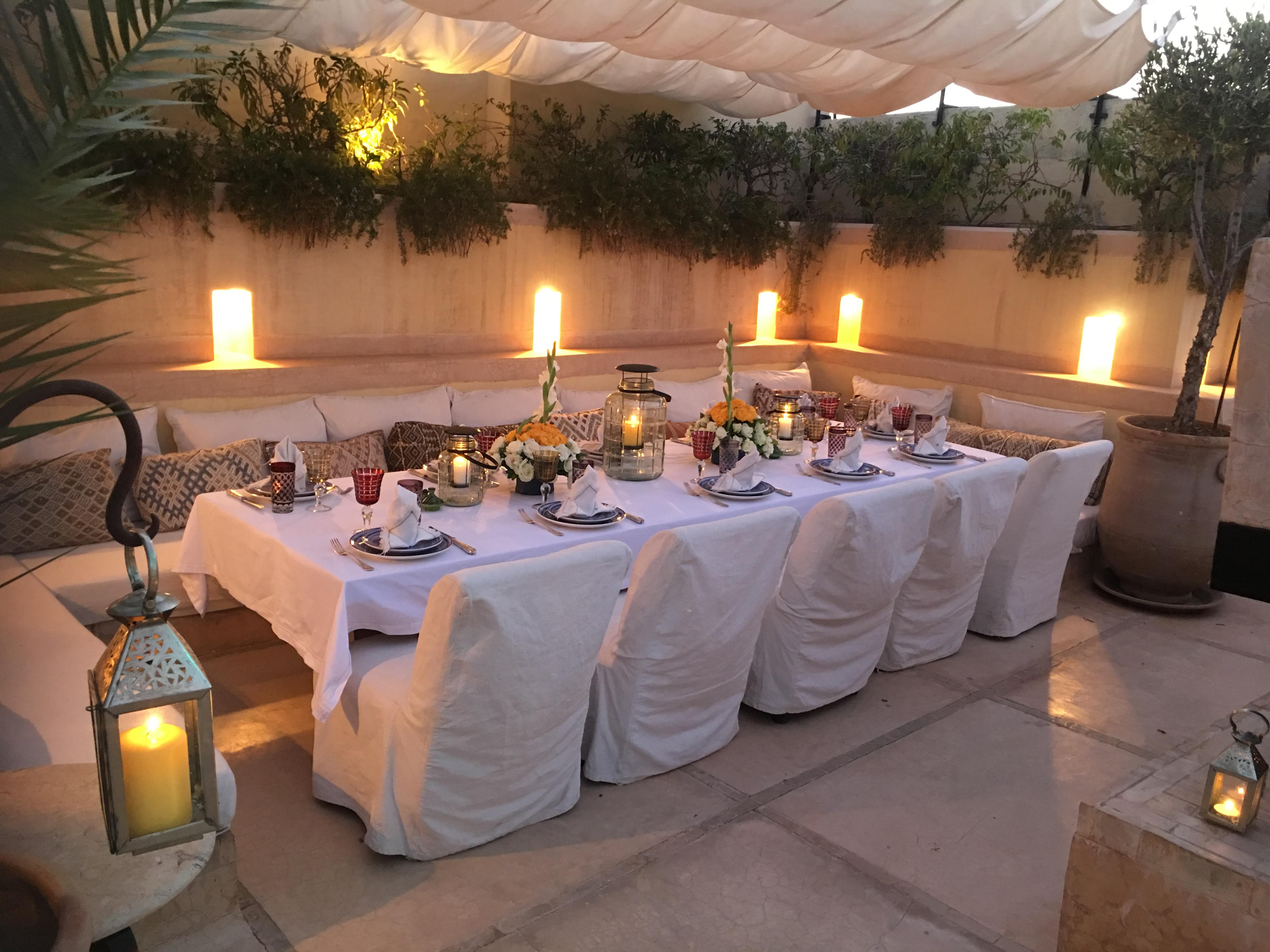 Table d'hôte de nuit - Hotel Riad Marrakech