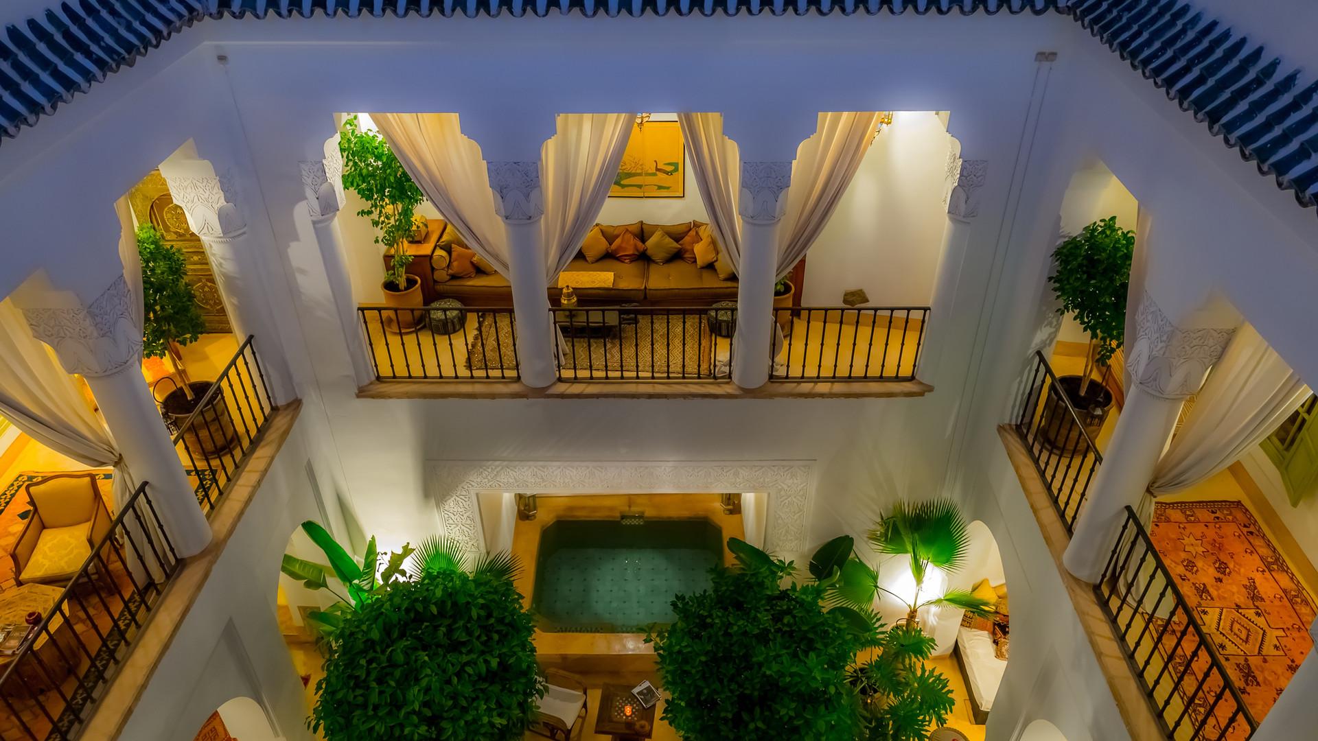 Court intérieur Riad Camilia vu du rooftop - Marrakech