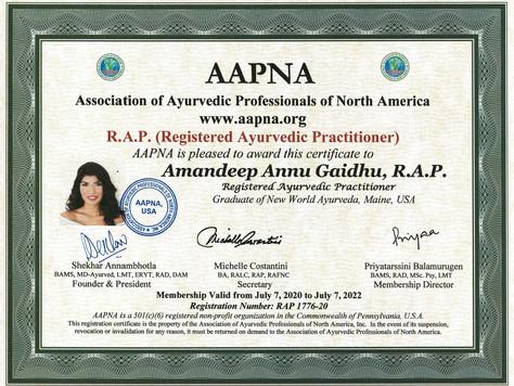 Registered Ayurvedic Practitioner